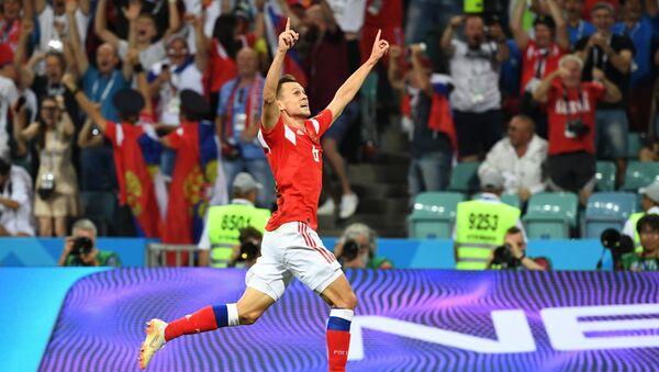 L'esultanza di Cheryshev dopo il gol del vantaggio russo contro la Croazia - Sputnik Italia