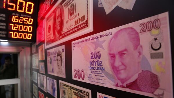 An oversized copy of a 200 Turkish lira banknote - Sputnik Italia
