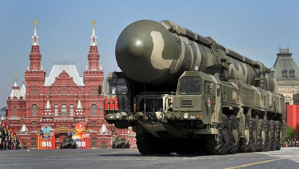 Russian Topol-M intercontinental ballistic misiles drive through Red Square during the Victory Day parade in Moscow. File photo - Sputnik Italia