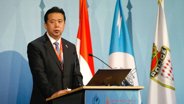 People's Republic of China Vice Minister and Ministry of Public Security, Meng Hongwei, delivers his speech to Interpol members during the 83rd Interpol General Assembly (File) - Sputnik Italia