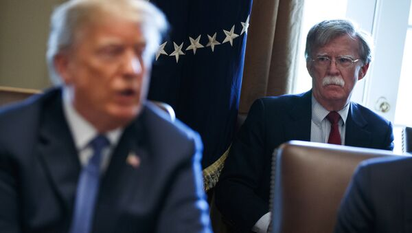 Il consigliere per la sicurezza John Bolton ascolta il presidente Donald Trump durante un incontro alla Casa Bianca  - Sputnik Italia