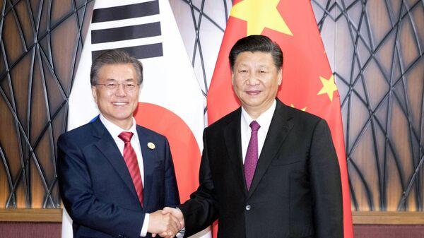 Il presidente cinese Xi Jinping e la sua controparte sudcoreana Moon Jae-in - Sputnik Italia