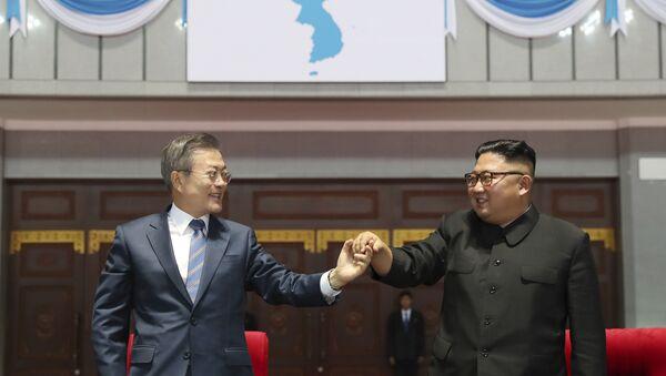 I leader delle due coree. Sullo sfondo la bandiera della Corea unificata. - Sputnik Italia
