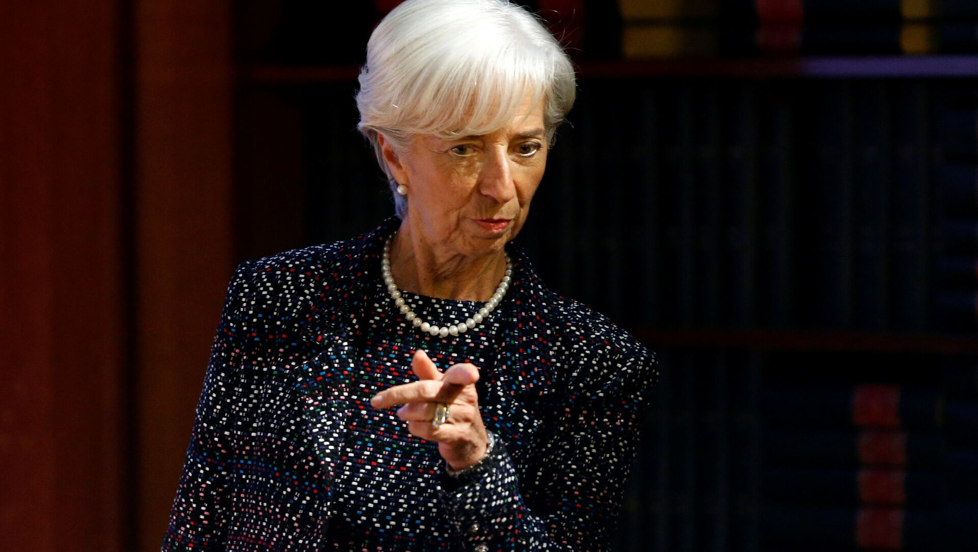 International Monetary Fund (IMF) Managing Director Christine Lagarde arrives to deliver a speech at the Solvay Library in Brussels, Belgium April 12, 2017.  - Sputnik Italia, 1920, 09.02.2021