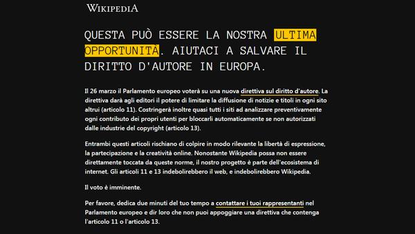 Oscurata la versione italiana di Wikipedia per protesta contro la nuova riforma di copyright - Sputnik Italia