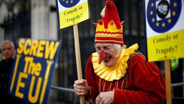 Противник Brexit рядом со его сторонниками на акции в Лондоне - Sputnik Italia