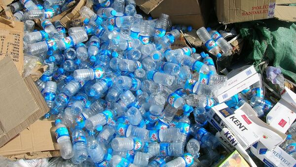 Montagna di bottiglie in plastica in mezzo al cartone - Sputnik Italia