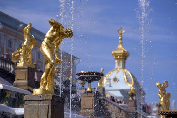 Le fontane della Grande Cascata di Petergof: sullo sfondo l'edifico della Tesoreria, progettato dall'architetto italiano Rastrelli a metà '700 - Sputnik Italia