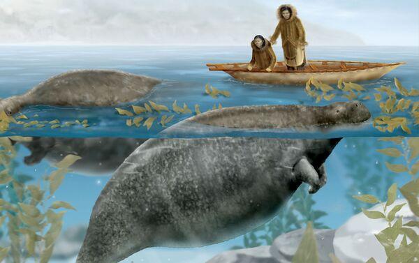 The Steller's sea cow – rappr.artistica dall'Enciclopedia Britannica - Sputnik Italia
