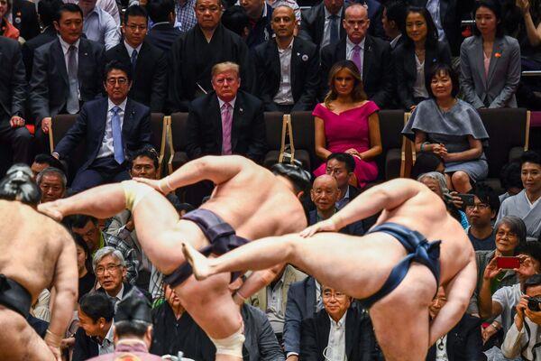 Il presidente americano Donlad Trump e sua moglie Melania con il primo ministro giapponese Shinzo Abe e sua moglie durante la visita del presidente in Giappone.  - Sputnik Italia