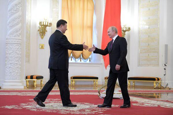 L'incontro tra Xi Jinping e Vladimir Putin a Mosca. - Sputnik Italia