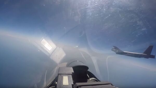 Immagine tratta dal video dell'intercettazione di un caccia americano da parte di un Su-27 - Sputnik Italia