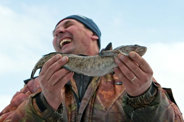 Un pescatore mostra felice la sua preda inoccasione del concorso di pesca invernale alla foce del fiume Sanakhta nel Volga, in Russia - Sputnik Italia