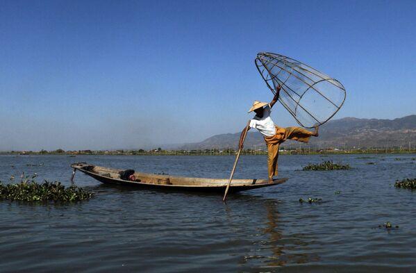 Pescatore acrobata nelle acque del lago Inle in Myanmar - Sputnik Italia