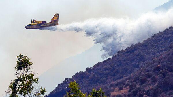 L'aereo Canadair getta l'acqua sugli incendi dopo l'eruzione del volcano Stromboli, Sicilia - Sputnik Italia