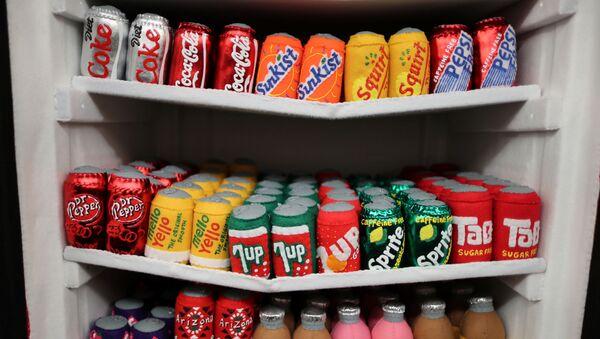 Frigorifero con bevande zuccherate in un'installazione artistica dell'artista Lucy Sparrow a in Los Angeles, California. - Sputnik Italia