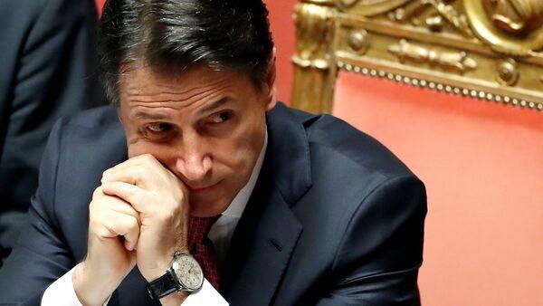 Giuseppe Conte durante il discorso al Senato il 20 agosto - Sputnik Italia