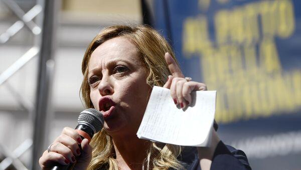 Georgia Meloni alla manifestazione antigovernativa, il 9 settembre del 2019 - Sputnik Italia