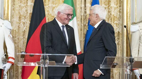 Il Presidente della Repubblica, Sergio Mattarella, con il Presidente della Repubblica Federale di Germania, Frank-Walter Steinmeier, in Visita di Stato, durante le dichiarazioni alla stampa - Sputnik Italia