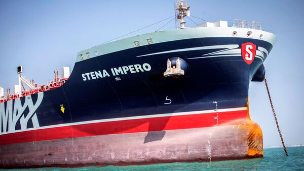 Stena Impero, a British-flagged vessel owned by Stena Bulk, is seen at undisclosed place off the coast of Bandar Abbas, Iran August 22, 2019 - Sputnik Italia