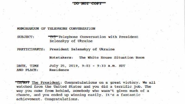 La trascrizione della telefonata tra Trump e Zelensky avvenuta il 25 luglio 2019 - Sputnik Italia