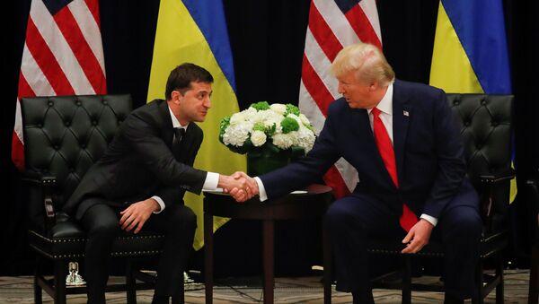 Donald Trump durante il suo incontro con il presidente ucraino Vladimir Zelensky - Sputnik Italia