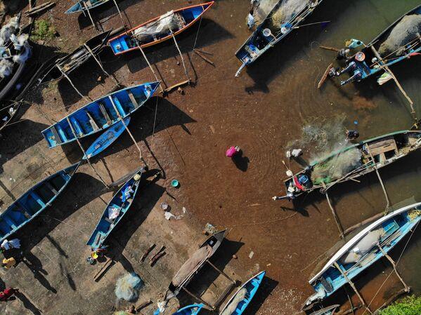 I venditori acquistano pesce da dei pescatori nel villaggio di Agonda, nel distretto meridionale di Goa. - Sputnik Italia
