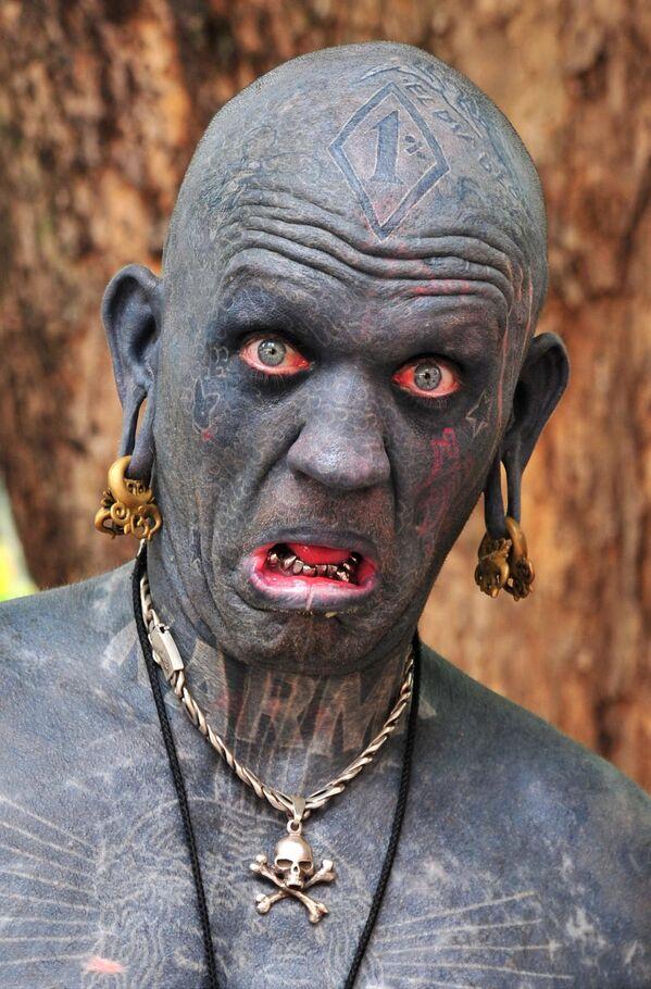 Il neozelandese Lucky Diamond Rich, che nel 2006 è entrato nel Guinness dei primati come l'uomo più tatuato del mondo - Sputnik Italia