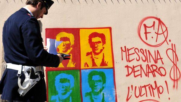 Murales con l'immagine del boss latitante Matteo Messina Denaro - Sputnik Italia
