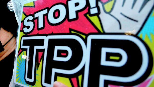 A placard during a rally against the Trans-Pacific Partnership (TPP) - Sputnik Italia