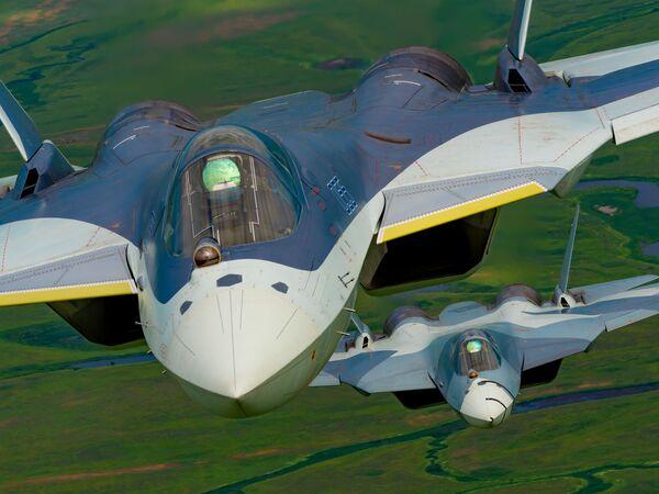 Il Sukhoi Su-57 è un prototipo di caccia multiruolo monoposto di 5ª generazione con caratteristiche stealth sviluppato da Sukhoi per l'aeronautica militare russa - Sputnik Italia