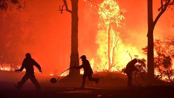 Волонтеры, пожарные и спасатели из Нового Южного Уэльса тушат пожар неподалеку от деревни Термейл, Австралия - Sputnik Italia