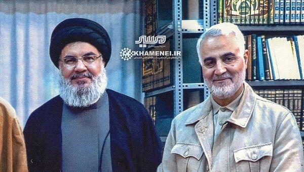Il capo di Hezbollah Hassan Nasrallah e il comandante della Forza Quds del Corpo delle guardie rivoluzionarie islamiche Qassem Soleimani - Sputnik Italia