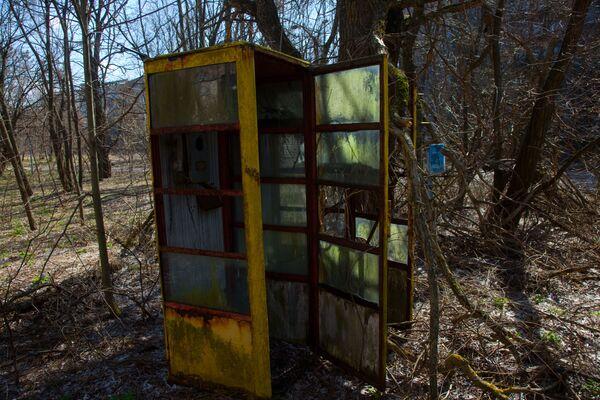 Una cabina telefonica su una delle strade di Pripyat - Sputnik Italia