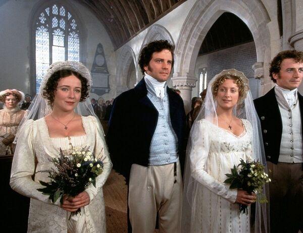 Colin Firth, Jennifer Ehle, Susannah Harker e Crispin Bonham-Carter nel film Orgoglio e pregiudizio, 1995 - Sputnik Italia
