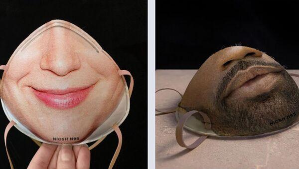 Защитные маски с 3D-изображением лица - Sputnik Italia