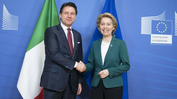 Il Presidente del Consiglio, Giuseppe Conte, incontra a Palazzo Berlaymont la Presidente della Commissione europea Ursula von der Leyen - Sputnik Italia