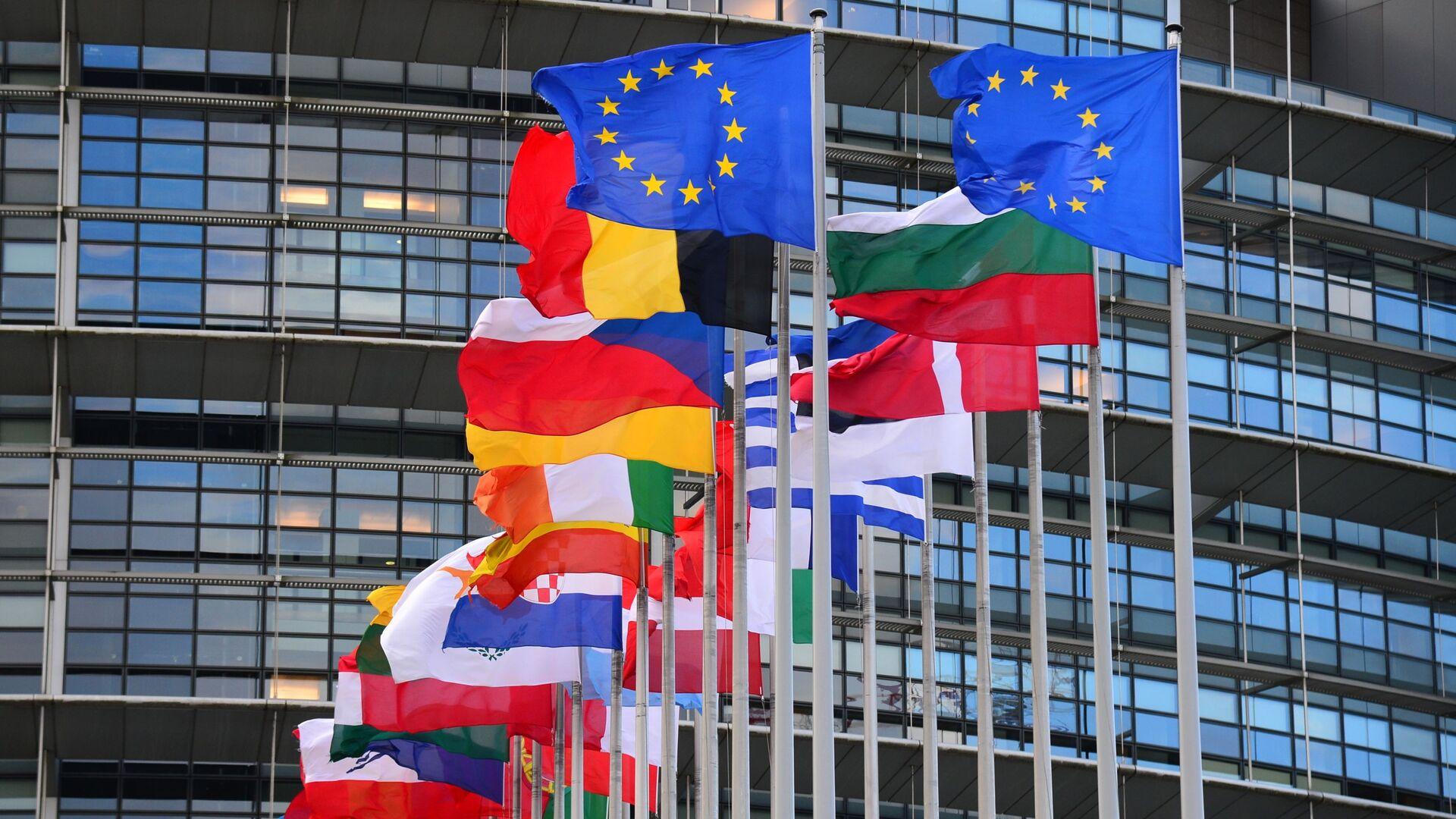 Bandiere dei paesi dell'UE di fronte all'edificio principale del Consiglio d'Europa a Strasburgo - Sputnik Italia, 1920, 21.05.2021