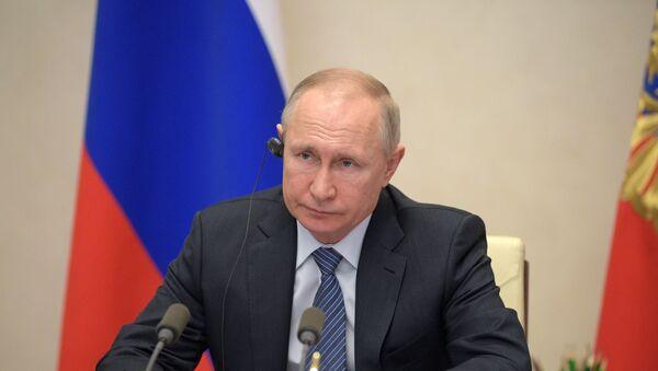 Il presidente russo Vladimir Putin prende parte al vertice G20 d'emergenza per il coronavirus in videoconferenza  - Sputnik Italia
