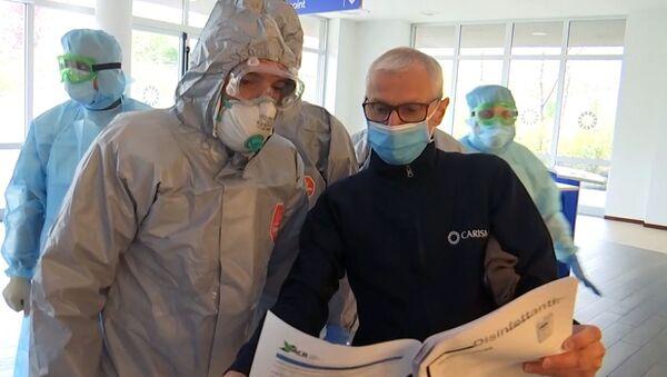 Una pensione a Bergamo visitata dai medici militari russi - Sputnik Italia