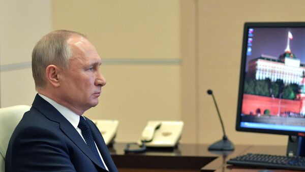 Il presidente della Federazione Russa, Vladimir Putin è intervenuto in un incontro con i governatori sulla situazione del coronavirus nel Paese. - Sputnik Italia