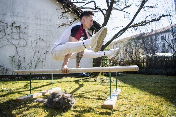 Marcel Nguyen, ginnasta, si allena nel giardino mentre il gatto di famiglia Coco siede sul prato, Germania, il 25 marzo 2020 - Sputnik Italia