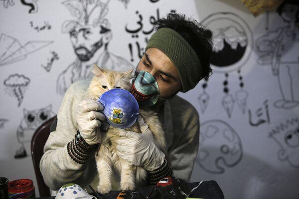 L'artista palestinese Dorgham Krakeh tiene davanti a un gatto una maschera protettiva dipinta a Gaza, il 24 marzo 2020 - Sputnik Italia