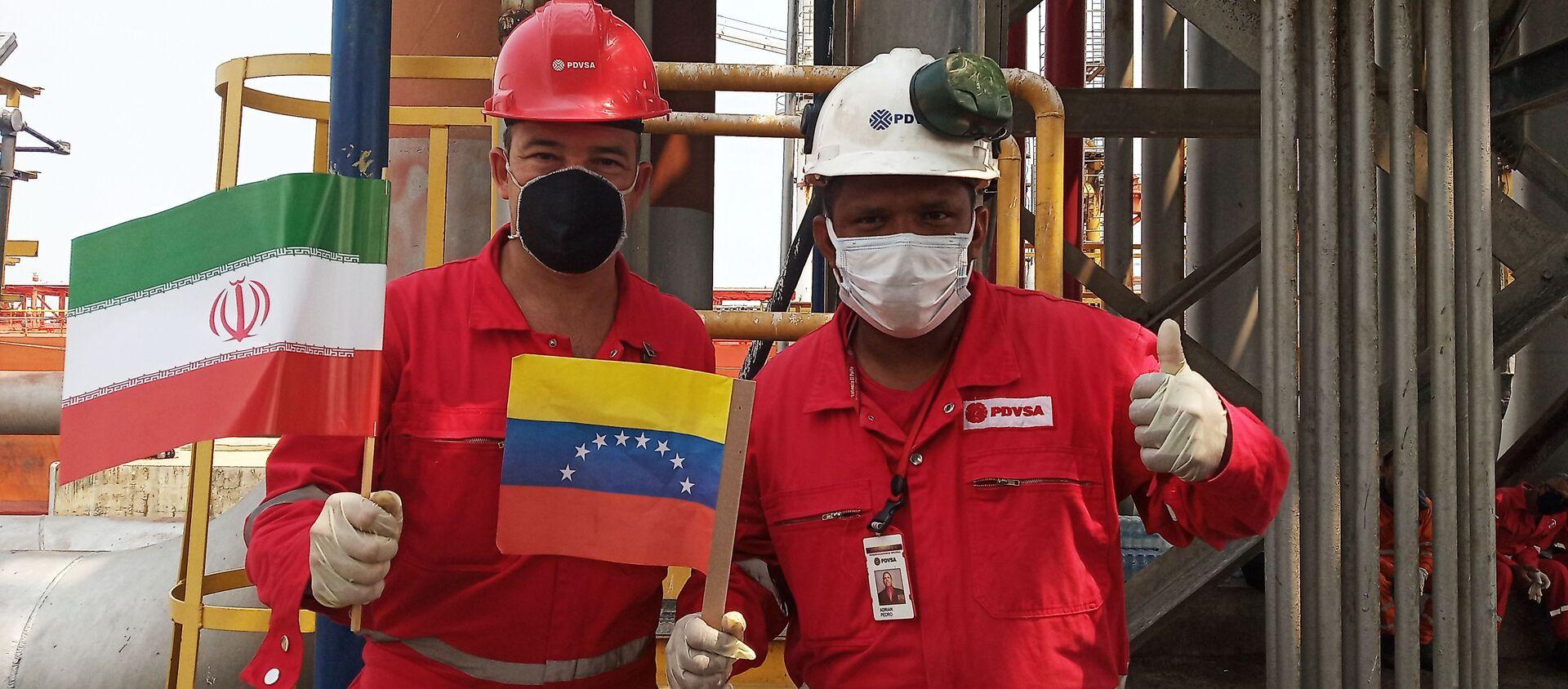 Il benvenuto alla petroliera iraniana Fortune alla raffineria El Palito, in Venezuela - Sputnik Italia, 1920, 14.12.2020